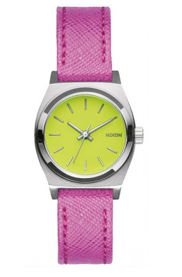ea262d46f2d Nixon Small Time Teller Leather in Neon Yellow Hot Pink (A5092081) A507131